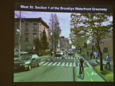 The Brooklyn Waterfront Greenway will eventually link 14 miles for bikers and pedestrians in Brooklyn.