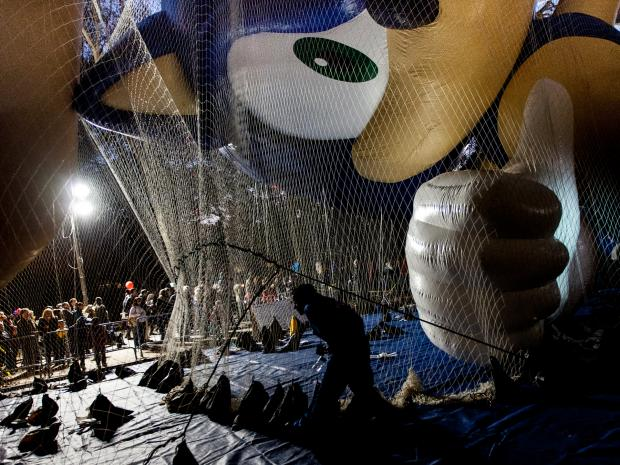 Balloons for Macy's Thanksgiving Day Parade were inflated on the Upper West Side, Nov. 21, 2012.