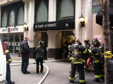 About 250 people were evacuated from 18 E. 41st St. when a fire broke out there on the second floor on Friday November 16, 2012.