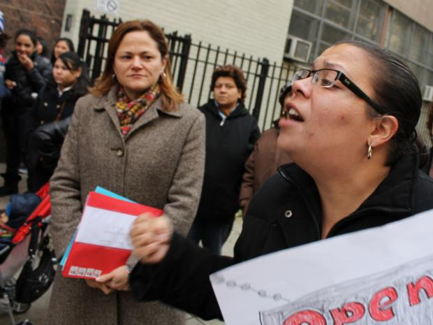 Parents and students rallied in Mott Haven Thursday outside P.S. 369, which the DOE could close.