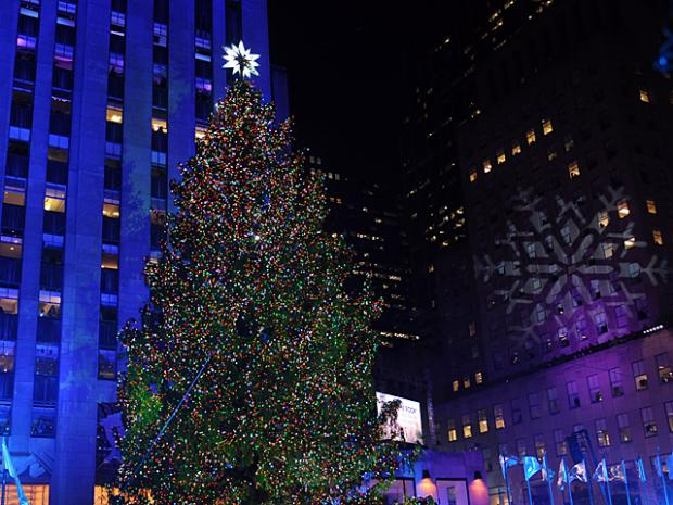 Workers prepare for the Christmas tree lighting at Rockefeller Plaza, Nov. 28, 2012.
