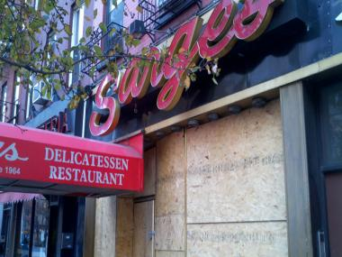 Sarge's Delicatessen was damaged by a three-alarm fire just before 6:50 p.m. on Sunday, Nov. 25 2012.