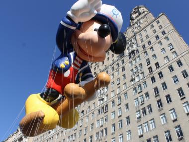 A Mickey Mouse float at the Macy's Thanksgiving Day Parade.