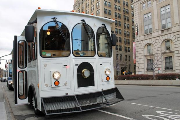 The Downtown Brooklyn Partnership is sponsoring guided trolley rides through Downtown Brooklyn.