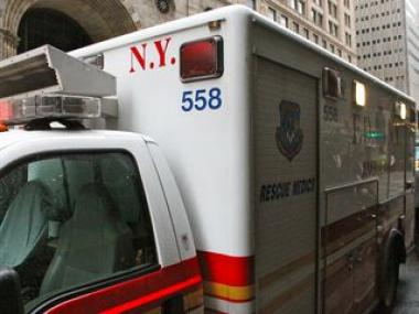 A person was rushed to Harlem Hospital after being shot at East 116th Street and Fifth Avenue, Dec. 17, 2012.
