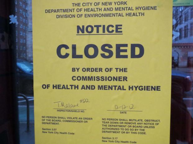 Aprovecho, a popular Mexican eatery on the Upper East Side, has been shutted by the Department of Health.