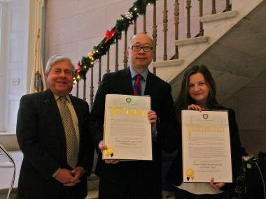 Brooklyn Borough President Marty Markowitz honors two straphangers who saved a man's life on Dec. 6, 2012.