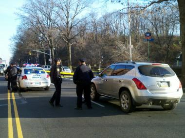 A woman was struck by a vehicle near Central Park West and West 102nd Street on Friday December 14, 2012.