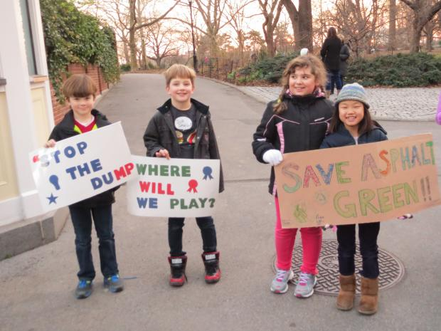 Children delivered letters to Gracie Mansion on Thursday, Dec. 13 2012 protesting the East 91st Street Marine Transfer Station.