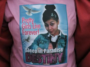 Relatives gathered December 1, 2012 at Parkchester Funeral Home for a viewing of Destiny Sanchez, 15, who was found strangled the previous week.