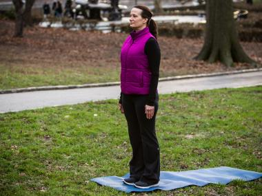 Sheryl Dluginski offers a step-by-step guide to a four count burpee workout exercise in Central Park on Dec. 11th, 2012.