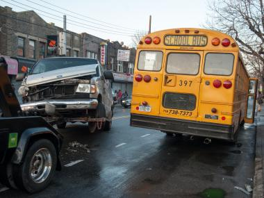 A dollar van traveling east on Church Avenue in Brooklyn drove into the opposing lane and slammed into a school bus with five children heading west on Church Avenue near the intersection of Utica Avenue. The five students along with two other adults on board were transported to Kings County Hospital Center, FDNY officials said. No pedestrians were struck.