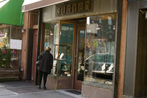 The front door of Elleven Jewelry was smashed in, and several pieces of jewelry were stolen.