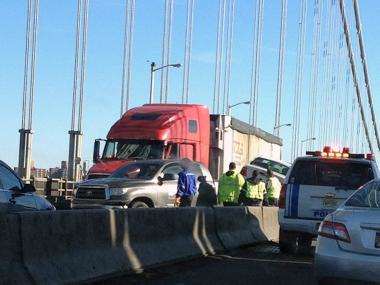 Traffic on the George Washington Bridge was snarled Friday after an accident on the upper level, Dec. 28, 2012.