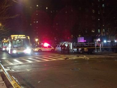 A man and a woman were struck by a vehicle in Harlem at Frederick Douglass Boulevard and West 129th Street Dec. 28, 2012.