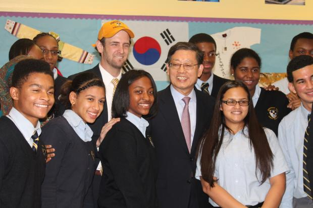 Just weeks after a group of  Democracy Prep  students returned from a two-week visit to his country, Korean Prime Minister Kim Hwang-Sik returned the favor and visted students at the Harlem school Monday.