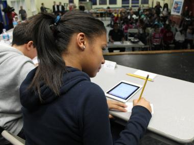 "A group of Queens middle school students put their skills to the test Wednesday night during a ""Mad about Math"" tournament, where they competed to solve math problems poised to them through a new educational mobile app deigned to help them strengthen their numbers chops."