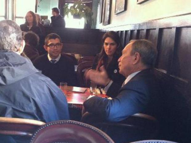 Mayor Michael Bloomberg strolled Red Hook's business district Wednesday morning, stopping at a cafe for coffee with small business owners and community leaders affected by Hurricane Sandy.