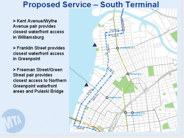 The MTA hopes to connect the Williamsburg, Greenpoint and Long Island City waterfronts in the route.