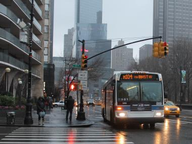 A woman was struck and killed by an MTA bus at 59th Street and Seventh Avenue Wednesday night, Dec. 26, 2012, police said.