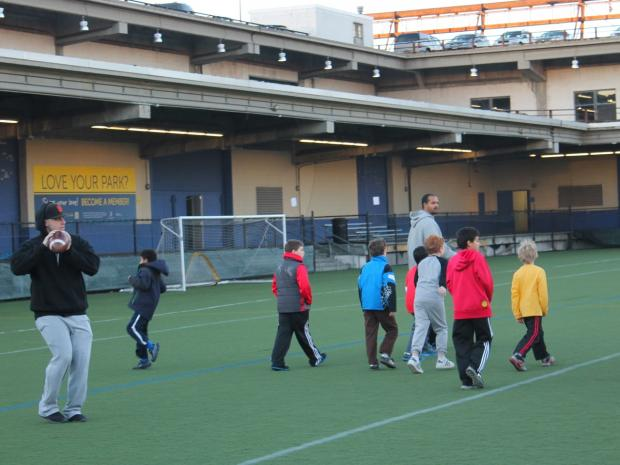 Youth sports organizations that use the pier within Hudson River Park donated more than $50,000 for its repair after Superstorm Sandy.