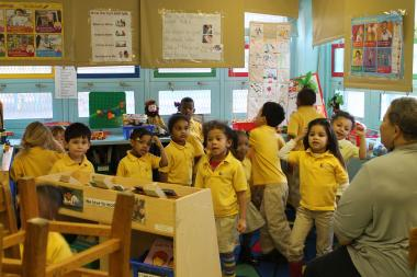 A pre-K class at P.S. 185 enjoys some afternoon dance time.