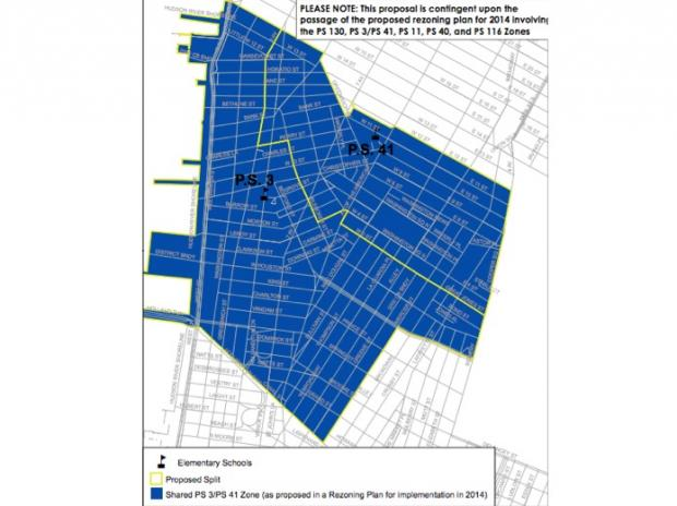 A controversial split between the zone encompassing P.S. 3 and P.S. 41 will be decided next month.