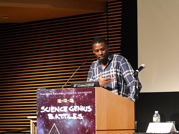 GZA from the Wu-Tang Clan helps launch Science Genius, a program to combine hip-hop and science education, at the Columbia Teachers College, Dec. 12, 2012.