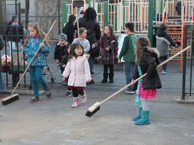 Part of Long Island City's popular Andrews Grove Playground is back open, though repair work continues.