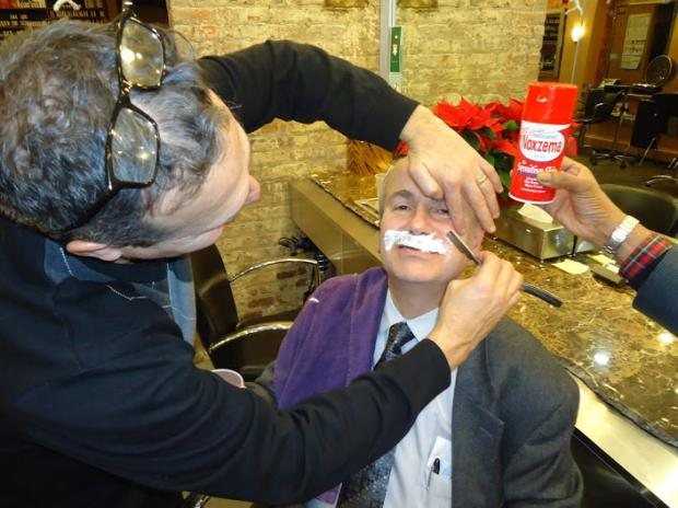 "Queens realtor Paul Halvatzis, whose son is autistic, is hosting a ""Shave the 'Stache"" fundraiser party."