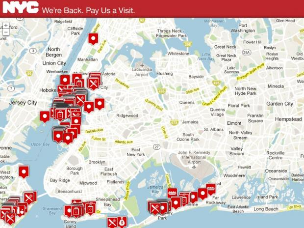 New York City launched a Support NYC Small Business initiative in December 2012 that includes an interactive map of businesses that have re-opened after sustaining damage from Hurricane Sandy
