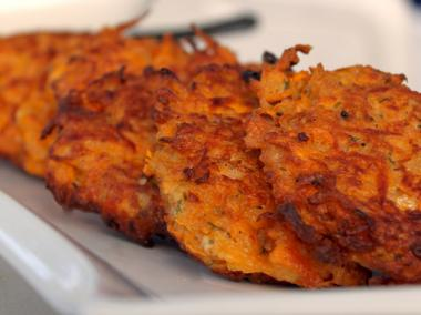 Sweet potato latkes, a twist on a holiday classic that's filled with antioxidants.