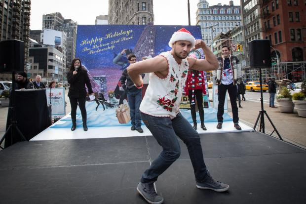 The Flatiron/23rd Street Partnership presented the Ugliest Sweater in NYC Challenge, which asked New Yorkers to don their most hideous or humorous holiday sweaters and walk the catwalk for a chance to win a weekend in the Flatiron District.