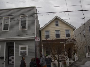 A two-story home at 176 St. Mary's Ave. is leaning toward its neighbor, officials said.