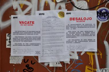 Signs at 173, 175 and 177 Bedford Ave., which were vacated by the Department of Buildings.