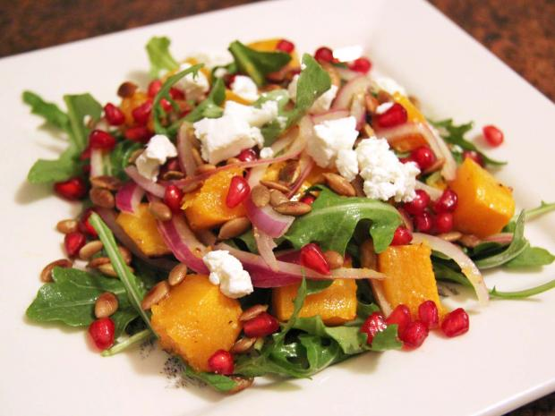This butternut squash salad combines the sweetness of butternut squash and maple with the salty crunch of pepitas.