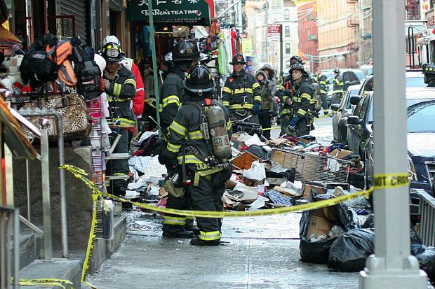 A fire broke out at 75 Mott Street, in Chinatown, on Jan. 27, 2013.