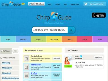UES Entrepreneur Rob Schutz has launched Chirp Guide, a directory to help webgoers find live Tweets