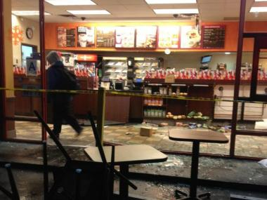 A car crashed into the Dunkin' Donuts on Linden Boulevard in Brooklyn Jan. 8, 2013.