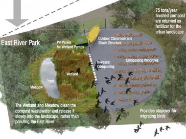 The Lower East Side Ecology Center is proposing the wetland to shelter birds and clean water.