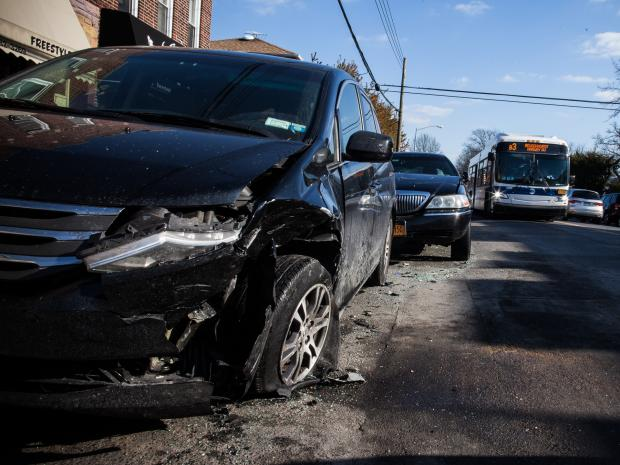 Car crash in Gravesend, Brooklyn that killed 3 on January 5, 2013.