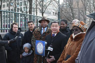 City Comptroller  John Liu  and other elected officials called on the city to settle a lawsuit brought by five men convicted of raping and beating a jogger in Central Park in 1989 whose convictions were overturned on jan. 4, 2012