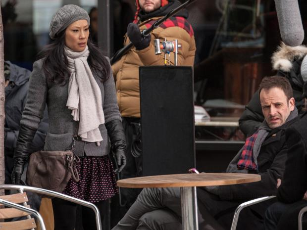"Lucy Liu and Jonny Lee Miller were filming their hit CBS shot ""Elementary"" in Brooklyn Monday  Jan. 21."