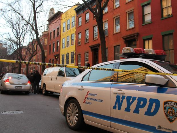 A man was shot at 48 Fort Greene Place after lunging at a woman with scissors.