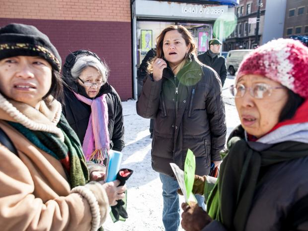 Council member Melissa Mark-Viverito holds a rally to denounce the recent possible hate-crime attacks on Asian Americans in East Harlem on January 26, 2013.