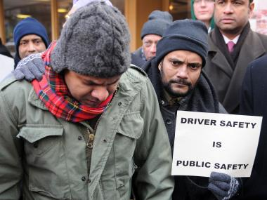 Friends and family gathered at 26th Street and Lexington Avenue to mourn the loss of cab driver Mir Hoosain who was killed on the street when a SUV ran into his cab, Jan. 23, 2013.
