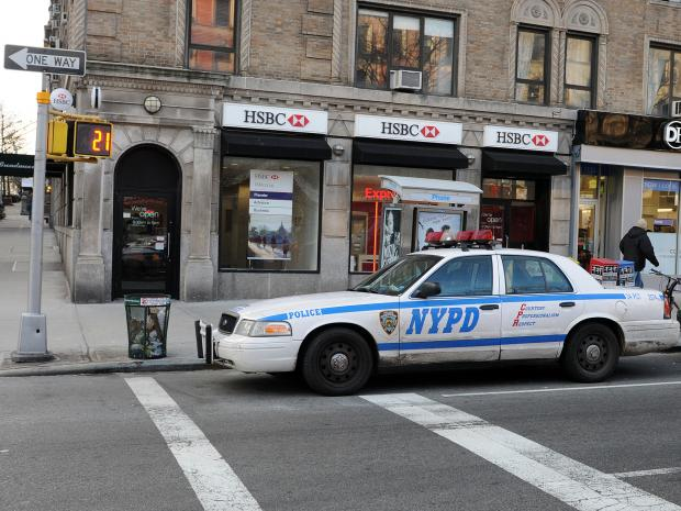 Police are looking for a man they say robbed two Morningside Heights banks Wednesday afternon, Jan. 23, 2013.