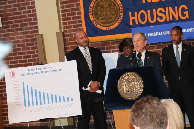 Mayor Michael Bloomberg said the New York City Housing Authority will eliminate its backlog of 420,000 open repair requests by the end of this year. But public housing residents at the complex where the announcement was made Thursday remain skeptical about whether the plan can be accomplished.