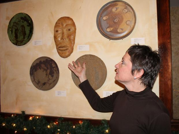 "Potters from ""The Potter's Wheel"", a Kew Gardens pottery studio, are showing their work at Austin's Ale House."