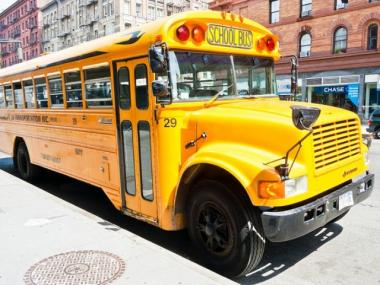 A school bus was rear-ended near the intersection of Boston and West Farms roads about 8 a.m., officials said.